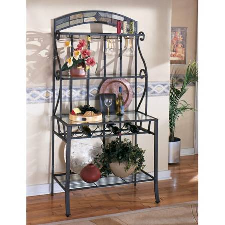 METAL AND SLATE ORNATE BAKERS RACK